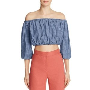 Theory Denim Chambray Crop Top
